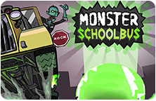 Image of the Monster School Bus title slide with the bus and main character.