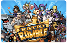 Image of the Ratio Rumble title slide featuring the many characters in the game.